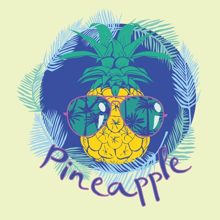 pineapple with glasses tropical, vector, illustration, design, exotic, food, fruit, background Stok Fotoğraf