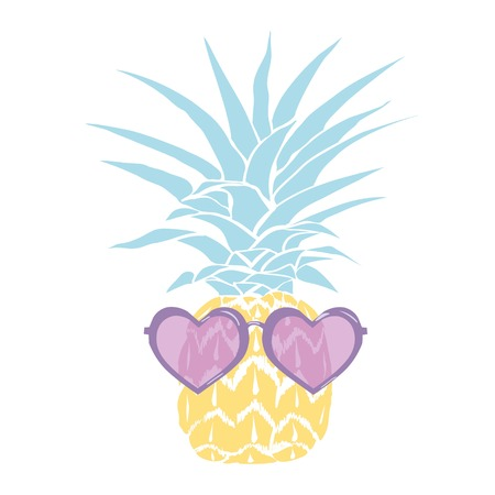 pineapple with glasses tropical, vector, illustration, design, exotic, food, fruit, background, design, exotic, food, fruit, glasses, illustration nature pineapple summer tropical vector drawing fresh healthy isolated plant sweet white dessert hawaii leaf Stok Fotoğraf - 94794435