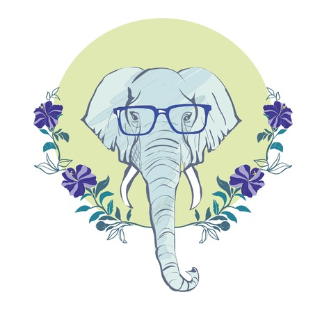 vector animal portrait, elephant in pink glasses, pink life, la vie est belle