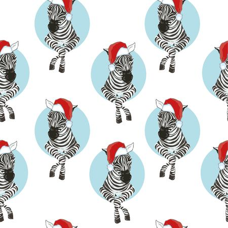Zebra wearing Santa hats seamless pattern. Savannah Animal ornament. Wild animal texture. Striped black and white. design trendy fabric texture, illustration. Stock Photo