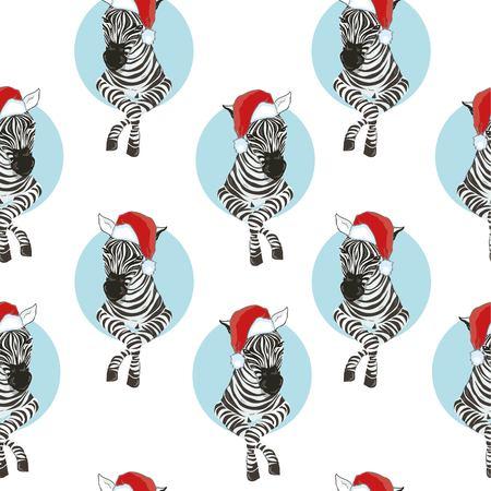 Zebra wearing Santa hats seamless pattern. Savannah Animal ornament. Wild animal texture. Striped black and white. design trendy fabric texture, illustration. Stok Fotoğraf