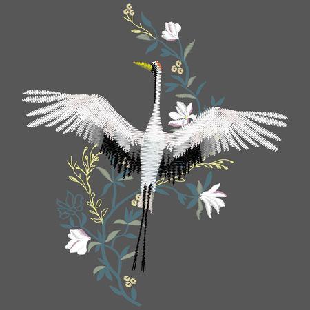 het kraanborduurwerk, vectorillustratie, vogel zwart ontwerp