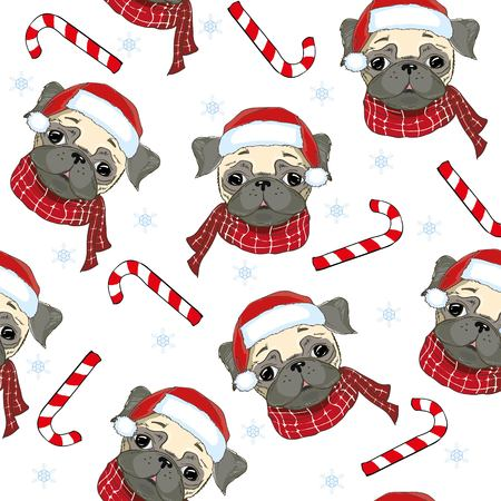 Pug dog. Seamless vector pattern