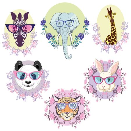 African animals set, vector, illustration, white background, isolated, reindeer, giraffe, Panda, Zebra, tiger Stock Illustration - 96429042