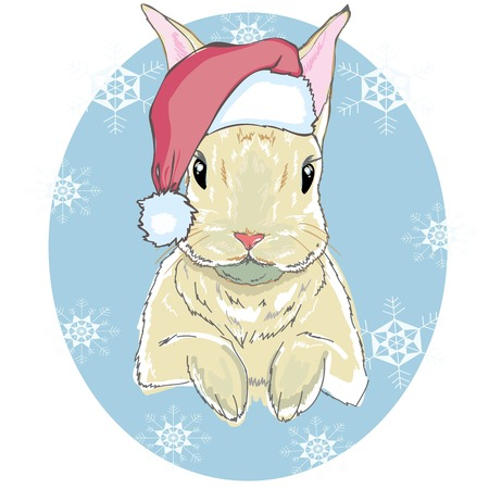 The christmas poster with the image rabbit portrait in Santas hat. Hand draw vector illustration.