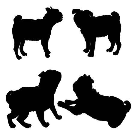 Cane di razza del bulldog francese che sta nella vista laterale - vector la siluetta isolata Archivio Fotografico - 94516492