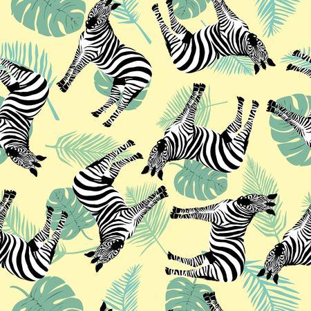 野生動物シマウマプリント、白い背景にシルエットとシームレスなパターンをスケッチ。ベクトルイラスト。野生のアフリカの動物。