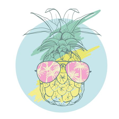pineapple with glasses tropical, vector, illustration, design, exotic, food, fruit, background, design, exotic, food, fruit, glasses, illustration nature pineapple summer tropical vector drawing fresh healthy isolated plant sweet white dessert hawaii leaf Çizim