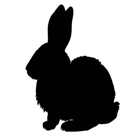 Silhouette of a sitting up rabbit, vector illustration Vettoriali