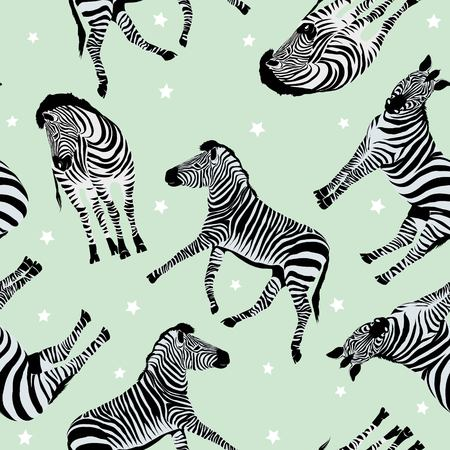Sketch Seamless pattern with wild animal zebra print, silhouette on white background. Vector illustrations. Wild African animals. Illustration