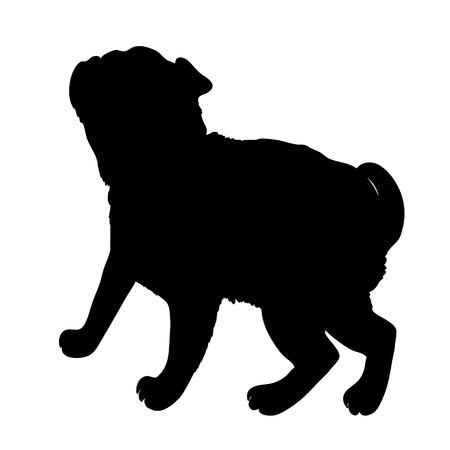 Cane di razza del bulldog francese che sta nella vista laterale - vector la siluetta isolata Archivio Fotografico - 94521187