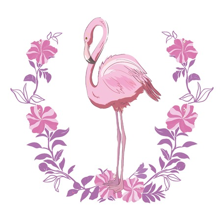 Vector illustration of pink flamingo. Isolated on the white background. Exotic tropical bird. collection, icon, long, set, sign, party, sticker, birthday heart safari silhouette trend foot