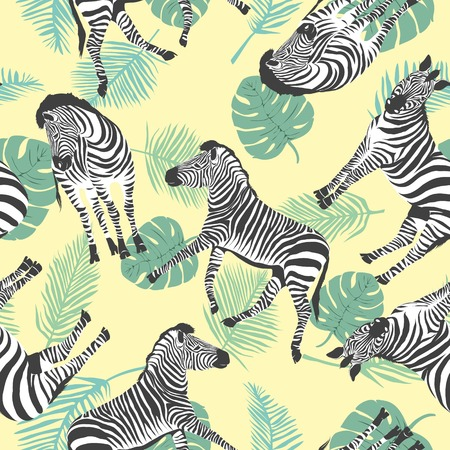 Sketch Seamless pattern with wild animal zebra print, silhouette on white background. Vector illustrations. Wild African animals. Banco de Imagens