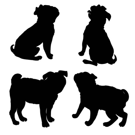 French Bulldog purebred dog standing in side view - vector silhouette isolated Stok Fotoğraf - 94521253