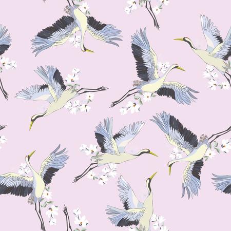 Japanese seamless pattern of birds and water. Traditional vintage fabric print. White and blue indigo background. Kimono design. Monochrome vector illustration. Stock Photo