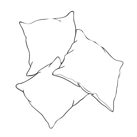 sketch vector illustration of pillow, art, pillow isolated, white pillow, bed pillow Banco de Imagens