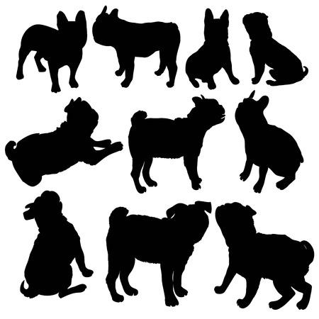 Cane di razza del bulldog francese che sta nella vista laterale - vector la siluetta isolata Archivio Fotografico - 94531987