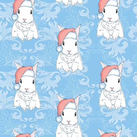 Seamless pattern with cute cartoon bunny and carrot. Baby pattern. Stock Photo