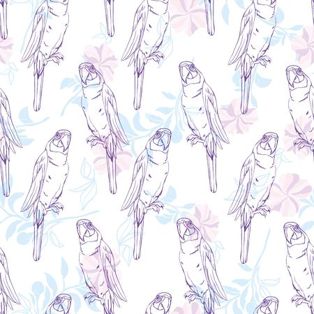 Vector naadloos patroon met papegaai. Stockfoto