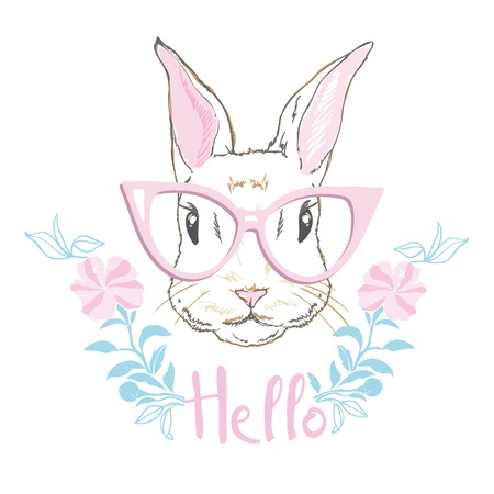 Happy Easter Bunny. Vector illustration for Easter greeting card, invitation with white cute rabbit on sky blue background.