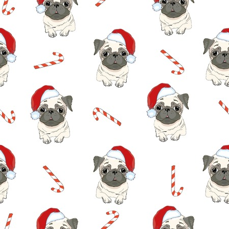 Seamless pattern with image of a Funny cartoon pugs puppies on a blue background. Vector illustration. Standard-Bild - 94532014