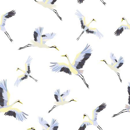seamless pattern with white cranes Reklamní fotografie - 94528976