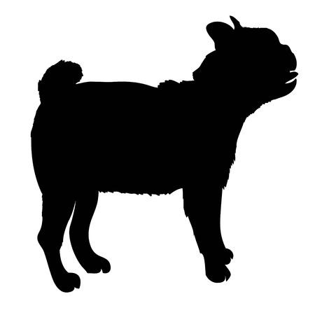 Cane di razza del bulldog francese che sta nella vista laterale - vector la siluetta isolata Archivio Fotografico - 94568577