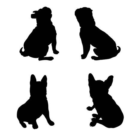 Cane di razza del bulldog francese che sta nella vista laterale - vector la siluetta isolata Archivio Fotografico - 94754922