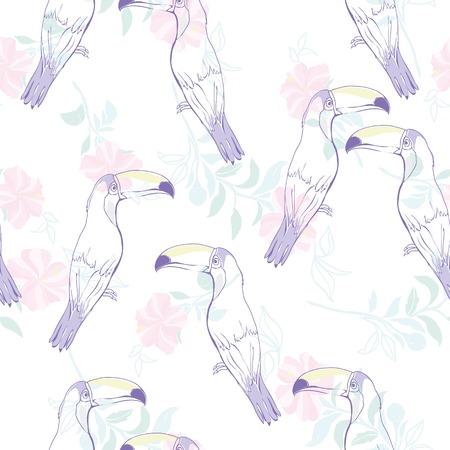 白い背景に手描きのトゥカンでシームレスなパターン
