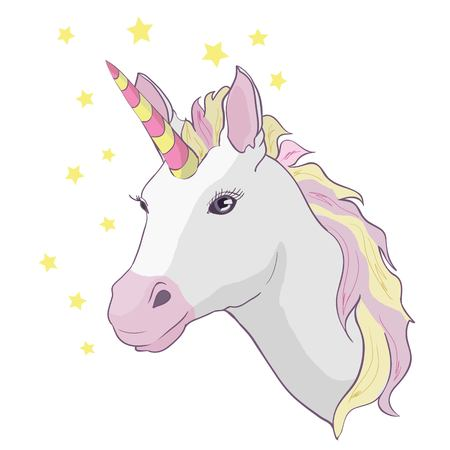 Unicorn vector icon isolated on white. Head portrait horse sticker, patch badge. Cute magic cartoon fantasy cute animal. Rainbow hair. Dream symbol. Design for children, horn, art, cartoon, animal, beautiful, child, color, fantasy, horned, isolated, lovely, magic, mane, mythology, white illustration wild graphic mammal sweet vector patch