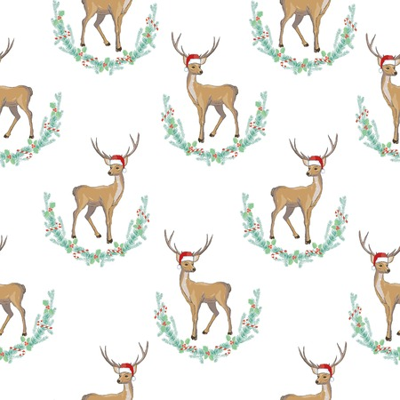 Deer heads seamless pattern Stock Photo