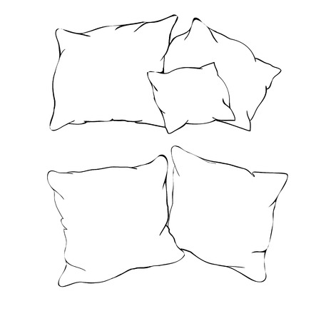sketch vector illustration of pillow, art, pillow isolated, white pillow, bed pillow, freehand, graphic, home, homemade, icon, image, ink, isolated, object, outline, relax ruffles scribble set sign sketch sketching sleep soft style symbol textile web white