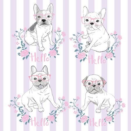 Pug dog face - vector illustration isolated on white background Vettoriali