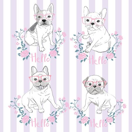 Pug dog face - vector illustration isolated on white background Ilustrace