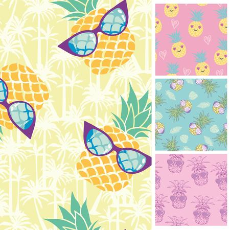 Summer Trendy Seamless Patterns. Vector Illustration of Nature Tile Background.