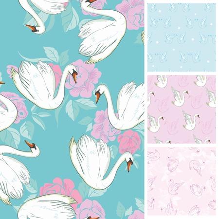 白鳥のシームレスなパターン群れが泳ぎます。ベクトルイラスト。すべての要素が切り取られ、マスクの下に隠されているわけではありません。フ