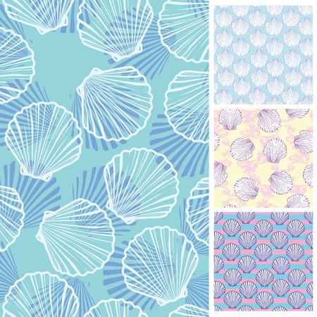 Set of seamless patterns. Vector backgrounds collection.