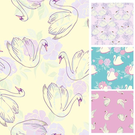 Seamless pattern flock of swans swim. Vector illustration. All elements are not cropped and hidden under mask. You will find a pattern to create scuffs in the file.