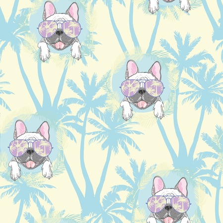 dog. french bulldog. illustration seamless pattern wallpaper background