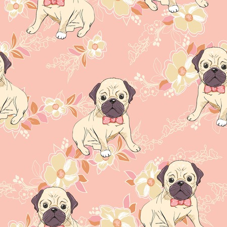 dog. french bulldog. illustration seamless pattern wallpaper background Standard-Bild - 96717620