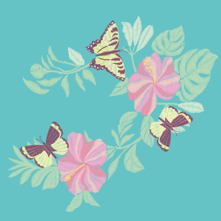 Butterfly embroidery design vector illustration Çizim