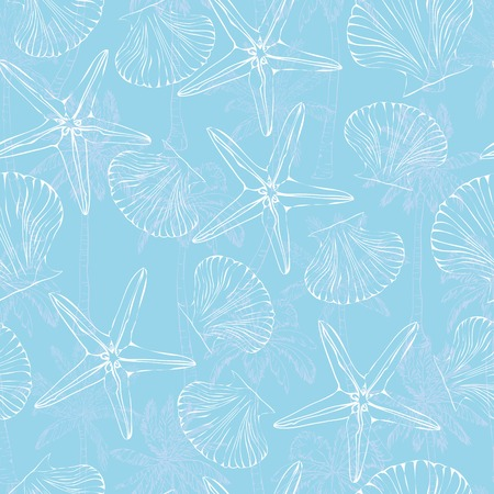 A Vector seamless pattern with hand drawn scallop shells. Beautiful marine design elements, perfect for prints and patterns.