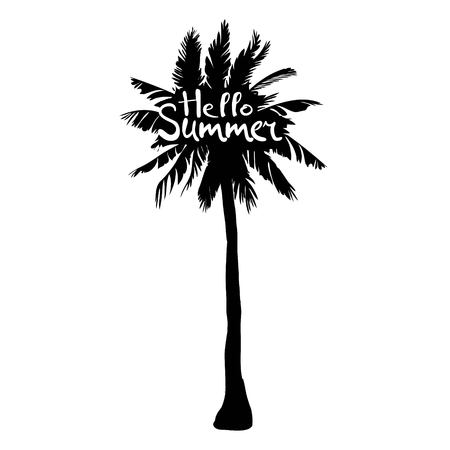Black vector single palm tree silhouette icon isolated Illustration