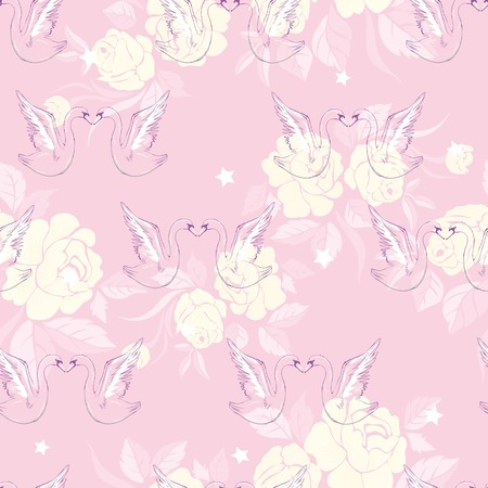 A Seamless pattern with swans. Vector. Illustration