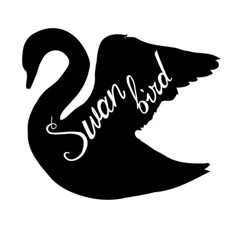 swan silhouette isolated on a plain background Illustration