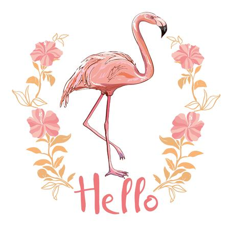 Pink flamingo standing on one leg with hello text vector illustration Illustration