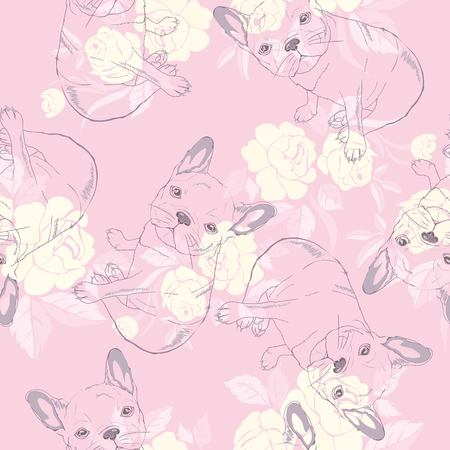 Dog seamless pattern vector illustration Standard-Bild - 96785099