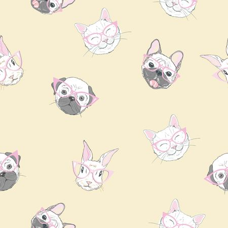 Funny girlish seamless pattern with cute kitty, dog, rabbit, faces. Фото со стока - 96717624