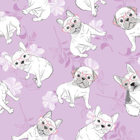 dog french bulldog. heart sunglasses. glasses icon. illustration seamless pattern wallpaper background  イラスト・ベクター素材