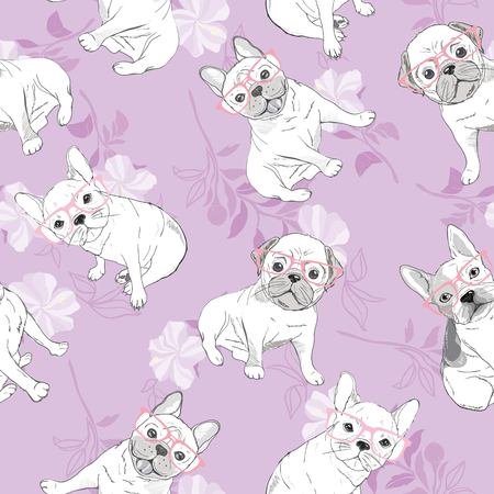 dog french bulldog. heart sunglasses. glasses icon. illustration seamless pattern wallpaper background Ilustracja